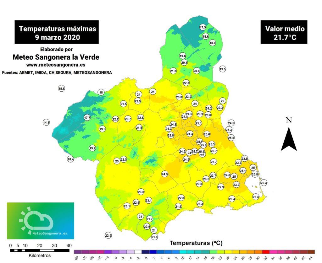 Temperatura máxima 9 marzo 2020